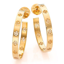 Load image into Gallery viewer, Tory Burch Pierced T Logo Hoop Earrings 16k Shiny Gold Plated 6196
