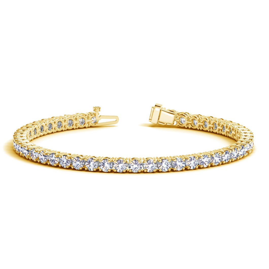 7 Carat Classic Round Diamond Tennis Bracelet 14K Yellow Gold Value Collection