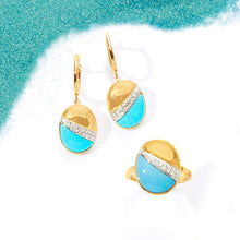 Load image into Gallery viewer, Ross-Simons Stabilized Turquoise and .14 ct. t.w. Diamond Drop Earrings in 14kt Yellow Gold