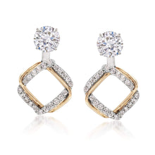 Load image into Gallery viewer, Ross-Simons 0.25 ct. t.w. Diamond Interlocking Square Earring Jackets in 14kt Two-Tone Gold