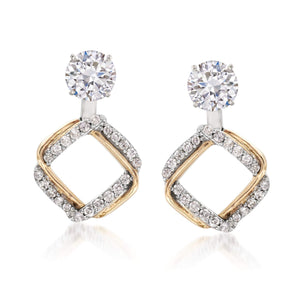 Ross-Simons 0.25 ct. t.w. Diamond Interlocking Square Earring Jackets in 14kt Two-Tone Gold