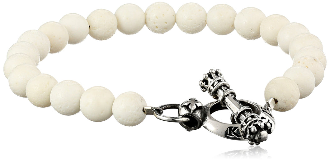 King Baby Men's Toggle Clasp White Coral Bracelet