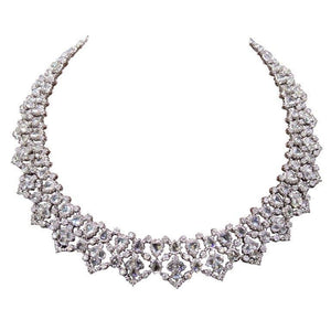 White gold 14k women necklace sparkling f VVS1 37 ct diamonds