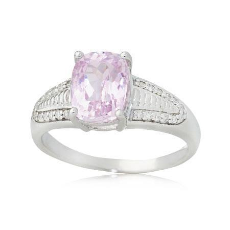 White gold 14k  pink kunzite and 26.50 carats diamonds prong set  Ring
