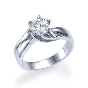 White gold 14K prong set solitaire sparkling 1.50 carat diamond ring