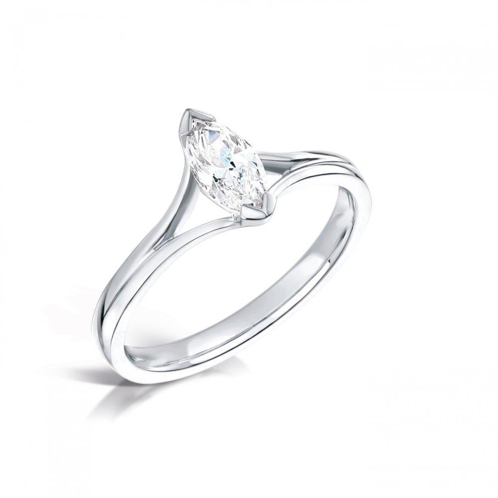White gold 14K f VS1 Solitaire 1.50 carat marquise cut diamond ring