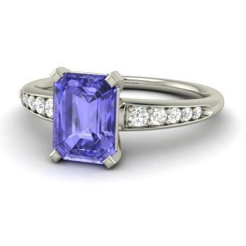 White gold 14K prong set tanzanite and diamonds 4.35 carats wedding ring