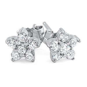 Sparkling round cut diamond 3.00 Carats stud earring 14k white gold