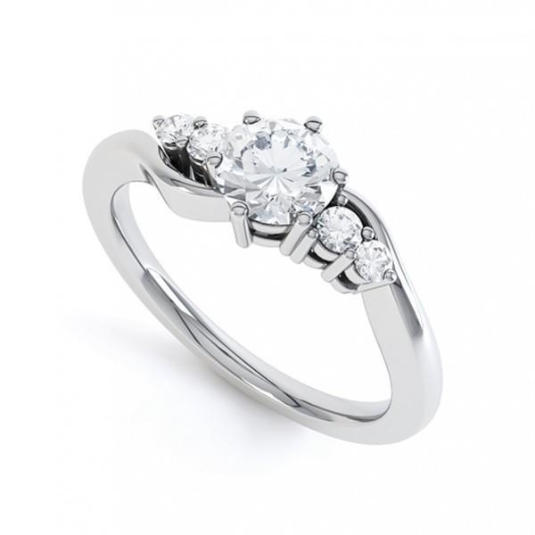 White gold 14K five stone 2 carats round diamond wedding ring solid gold jewelry