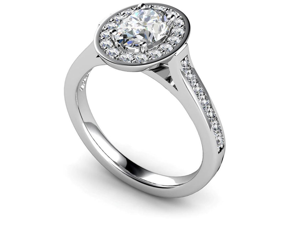 White gold 14K solitaire with accent oval & round cut 2.70 ct diamonds ring