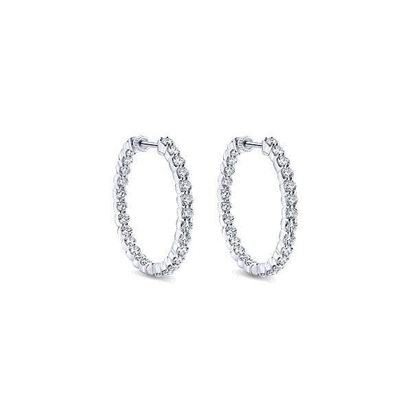 white gold  2.70 Ct gorgeous round cut diamonds ladies Hoop earring