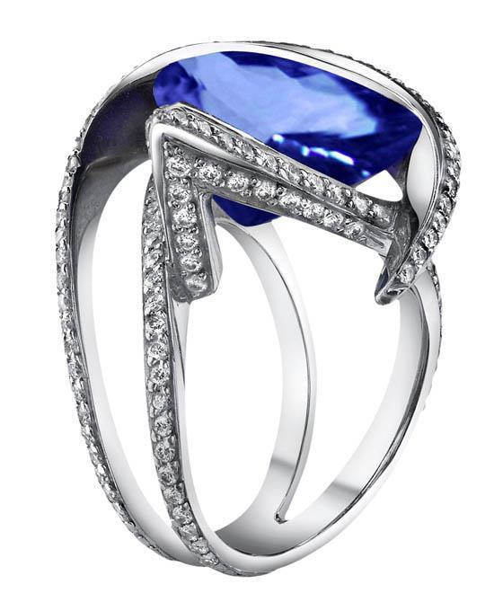 W jewelry pear CEYLON SAPPHIRE diamond 5.01 ct anniversary ring gold