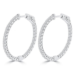 white gold gorgeous round cut 2.50 ct diamonds ladies Hoop earrings