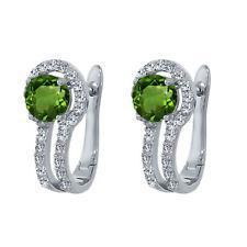 white gold 14k round cut green sapphire diamond hoop stud earring