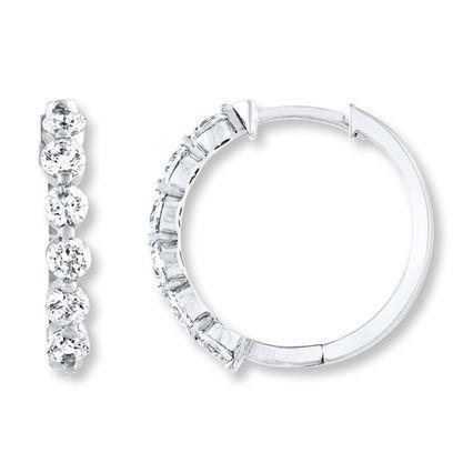 white gold 14k 3 Carats round hoop diamond earring solid
