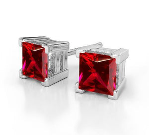 Studs earrings WG 14k new 8.00 Carats princess cut red ruby lady