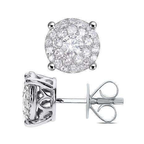 Women stud earrings 3.70 carats brilliant cut diamonds white gold 14k