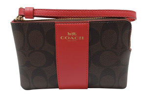 Coach Signature PVC Leather Corner Zip Wristlet (Brown True Red)