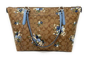 Coach AVA Leather Shopper Tote Bag Handbag (SV/Khaki Blue Multi)