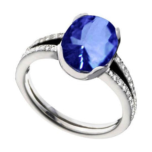 White gold 14K 7.01 carat cushion tanzanite AAA diamonds ring Size 6.5