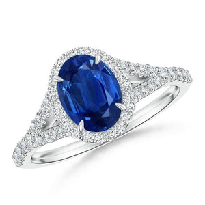 White gold 14k prong set 4.50 ct sapphire and diamonds Wedding ring