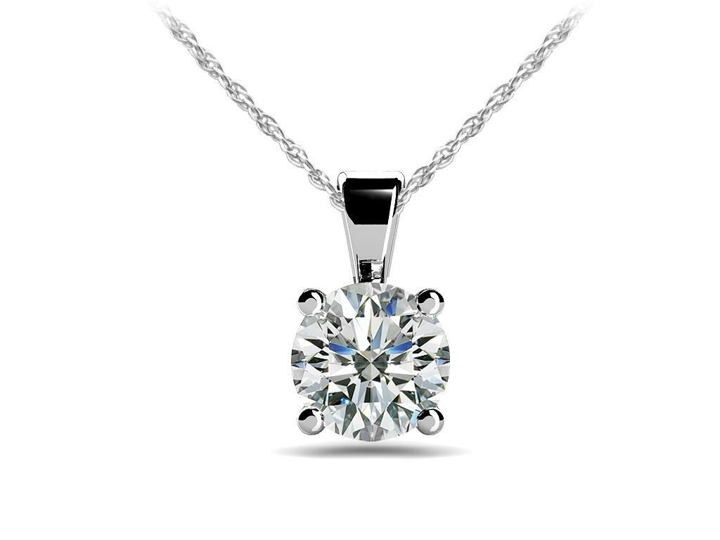 Women round solitaire diamond necklace pendant gold jewelry 1 carats