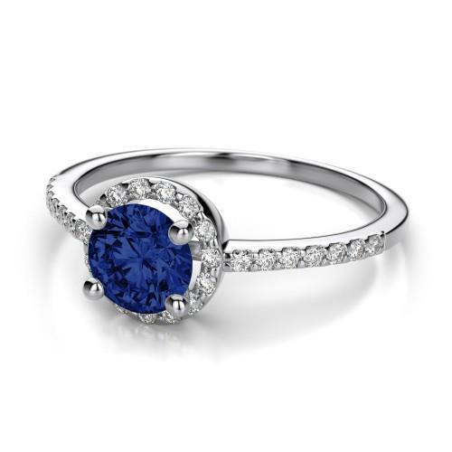 SRI LANKAN SAPPHIRE ring round halo diamond jewelry gold 14k 1.60 ct