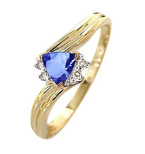 SRI LANKAN SAPPHIRE trilliondiamond 3.95 carat wedding ring YG