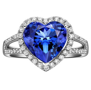 WG 14k 4.75 carats CEYLON SAPPHIRE and diamonds Engagement ring