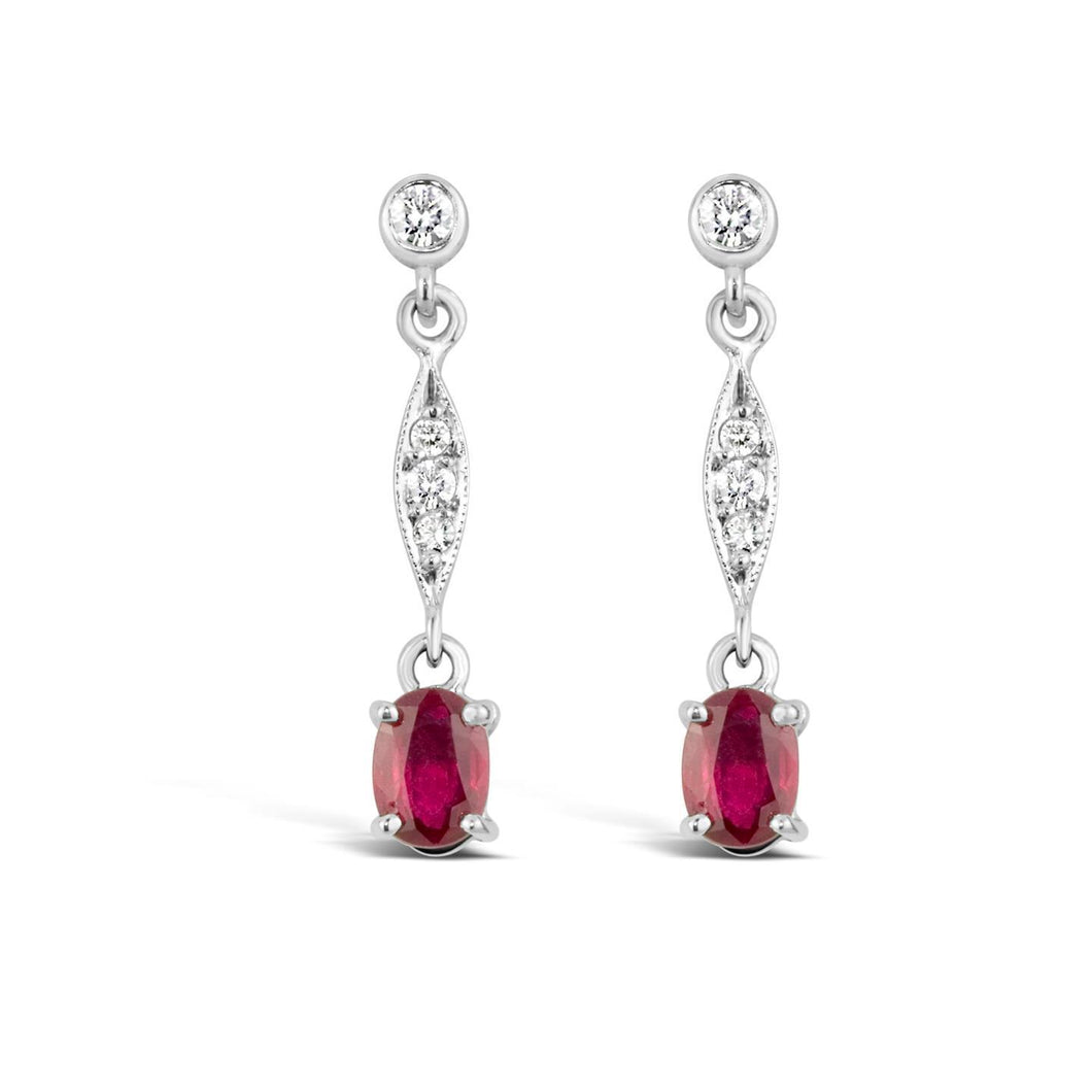 White gold 14k 4.80 carats ruby and diamonds Studs earrings new
