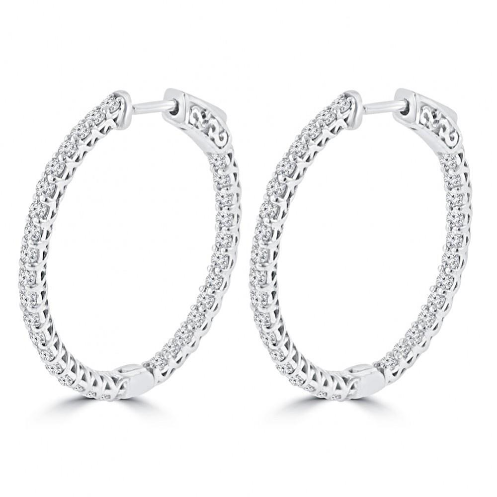 White gold 14K gorgeous round hoop and shaped 2.50 carats diamonds ladies earrings