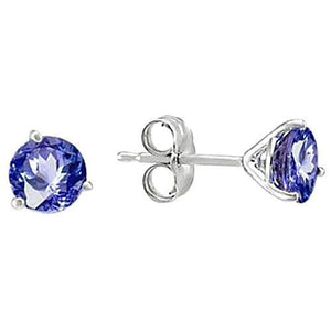 White Gold round SRI LANKAN SAPPHIRE 8 carat women studs earrings