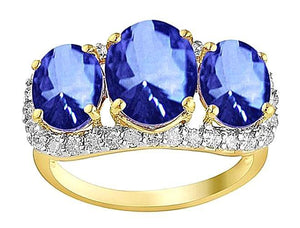 Yellow gold CEYLON SAPPHIRE Oval round diamonds 6 carat anniv. ring
