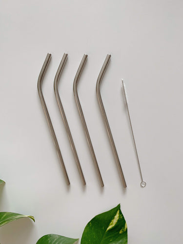 8 inch Steel Straws Curved