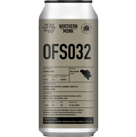 Northern Monk x Brussell's Beer Project Collab OFS032 Sabro & Lime Zest Wit 440ml (5.8%)