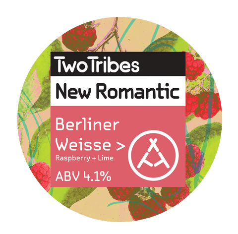 Two Tribes New Romantic Raspberry + Lime Berliner Weisse Sour 440ml (4.1%) - indiebeer