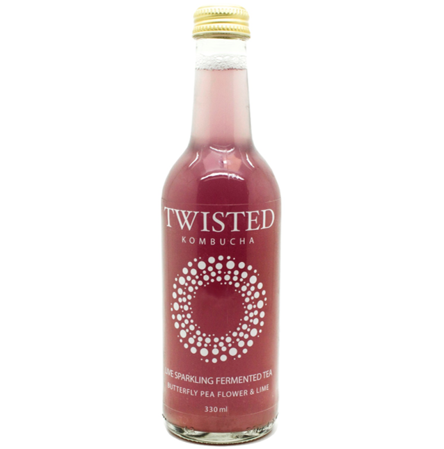 Twisted Kombucha Butterfly Pea Flower & Lime Naturally Fermented Living Tea 330ml (0%)