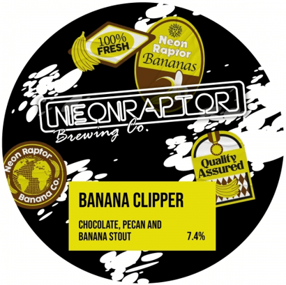 Neon Raptor Banana Clipper - Chocolate, Pecan and Banana Stout 440ml (7.4%) - indiebeer