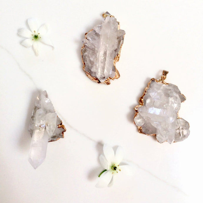 Clear Quartz Pendant - Gold