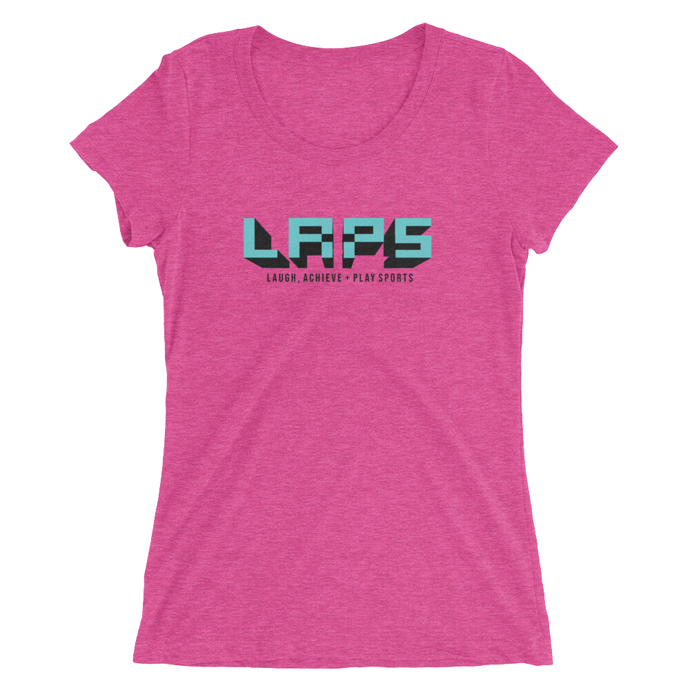Ladies' short sleeve t-shirt- aqua logo