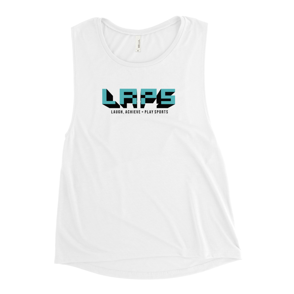 Ladies' Muscle Tank- aqua logo