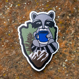 Raccoon Coffee Sticker V2 (color)