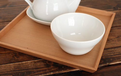 HACOA Wooden Square Caster Tray