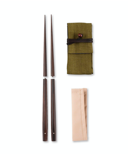 Carry-along Sixteen-side Chopsticks Ebony (with chopsticks case)