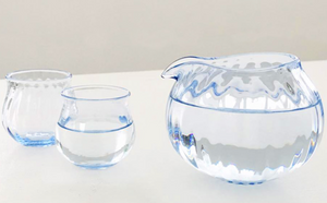 Blue Glass Sake Pitcher