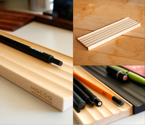 HACOA Wooden Pen Tray with Grooves