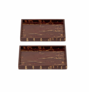 Cherry Wood Snack Trays (Set of 2)