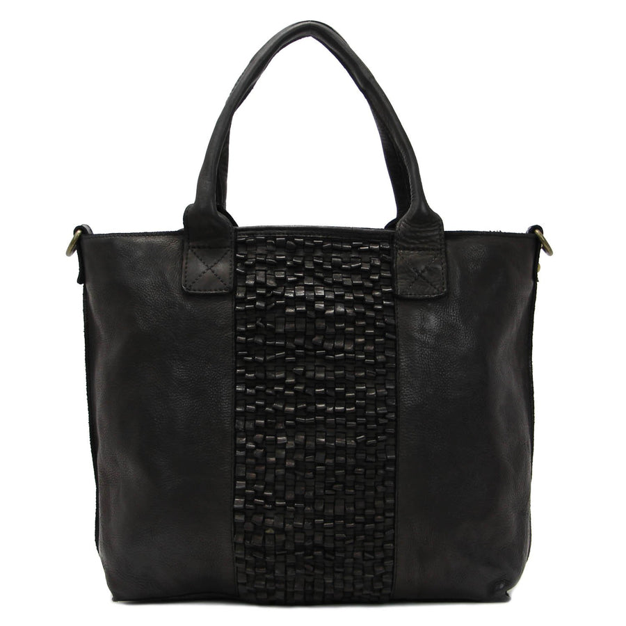 Blair Black Leather Tote Bag