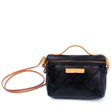 Suzie Small hand-painted Black Leather Crossbody Bag