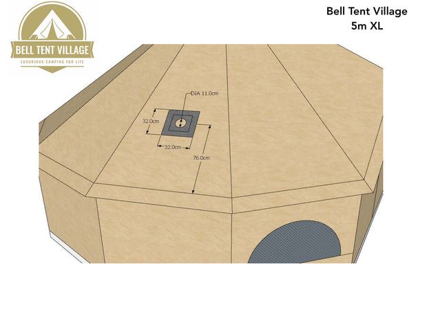 BTV 4 XL Cotton Canvas Bell Tent With Stove Hole